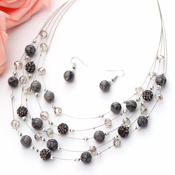 Natural Stone layered Jewelry Set