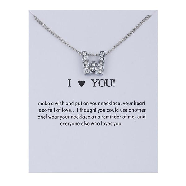Crystal Silver Letter Necklace
