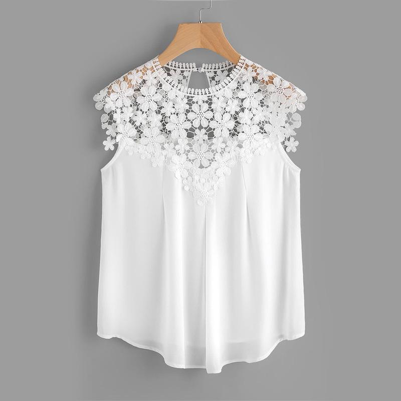 Daisy Lace Shoulder Shell Blouse