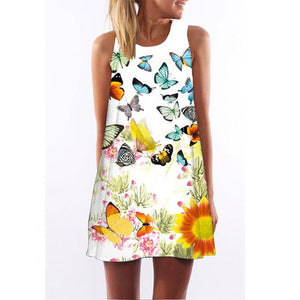 Butterfly Sunflower Print Dress