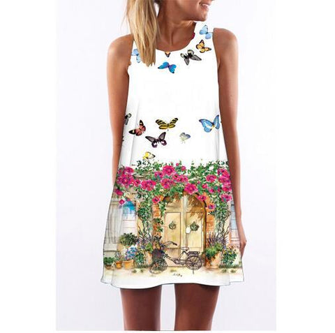 Butterfly Floral Print Dress