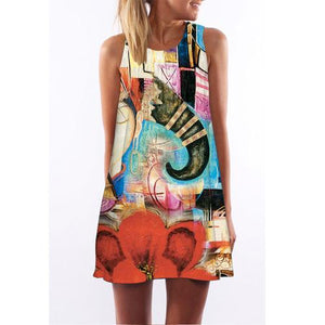 Patchwork Elephant Print Dress