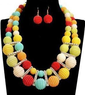 African PomPom Rainbow Jewelry Set