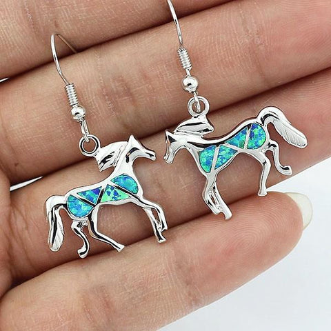 Ocean Shimmer Opal Horse Earrings