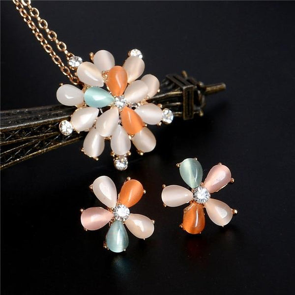 Opal Flower Jewelry Set