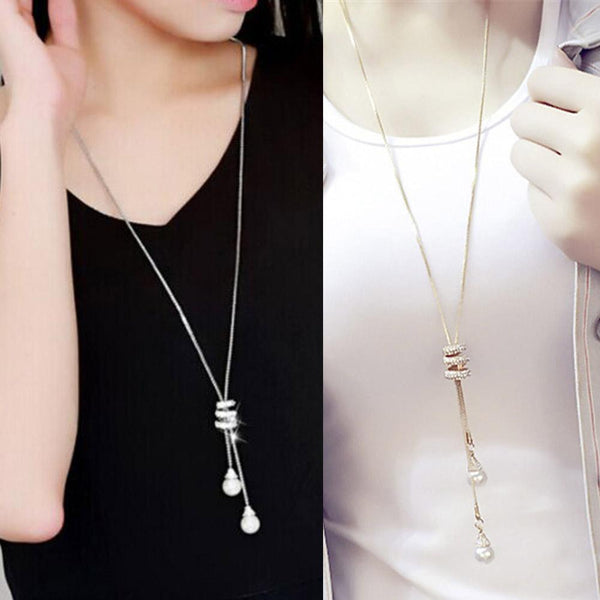 Pearl Crystal Long Chain Necklace