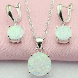 White Opal Jewelry Set