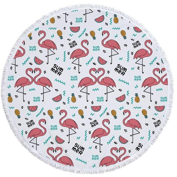 Flamingo & Tropical Styled Microfiber Round Beach Towel