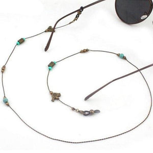 Vintage Metal and Turquoise Eyeglass Chain