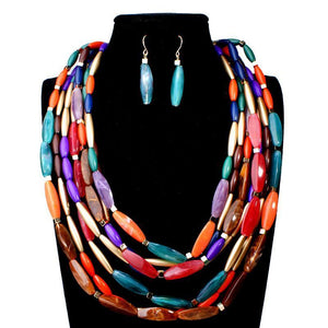 African Rainbow Beads Jewelry Set