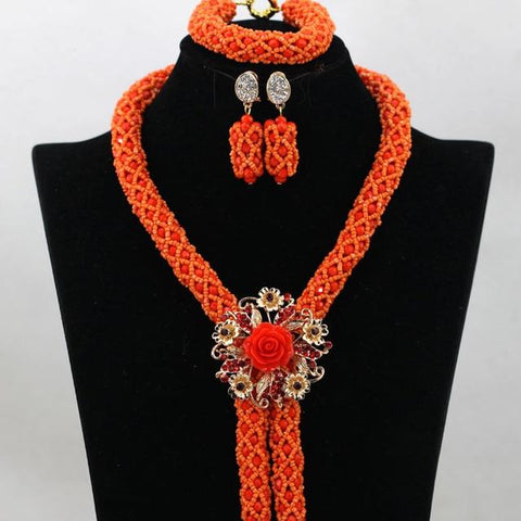 African Crystal Flower Jewelry Sets