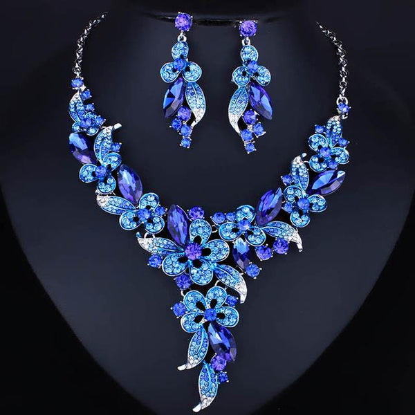 Floral Rhinestone Jewelry Set