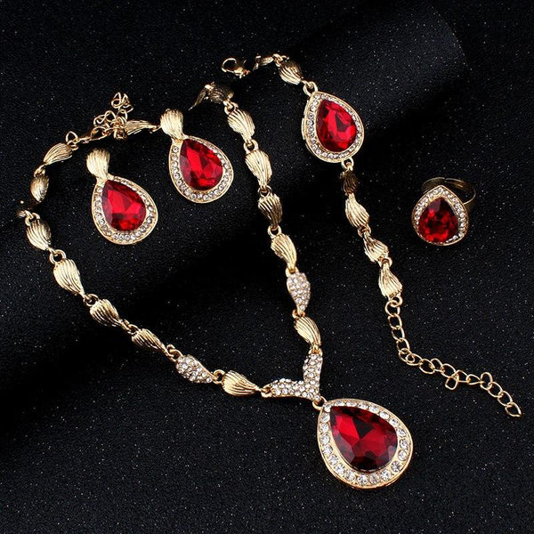 African Crystal Drop Jewelry Set