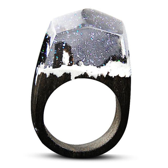 Sparkle Snowstorm Wooden Rings