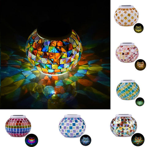 Bohemian Mosaic Ball Solar Powered Table Lamps
