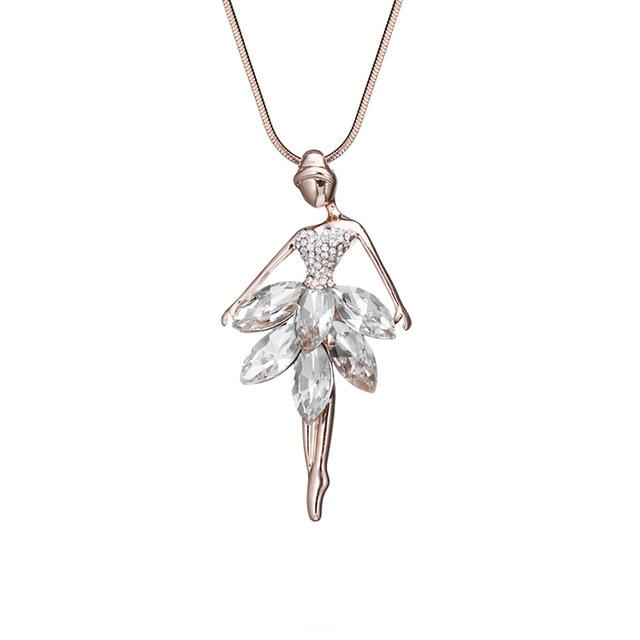 Ballet Girl Crystal Necklaces
