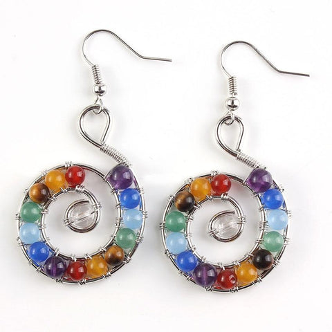 Chakra Spiral Shell Earrings