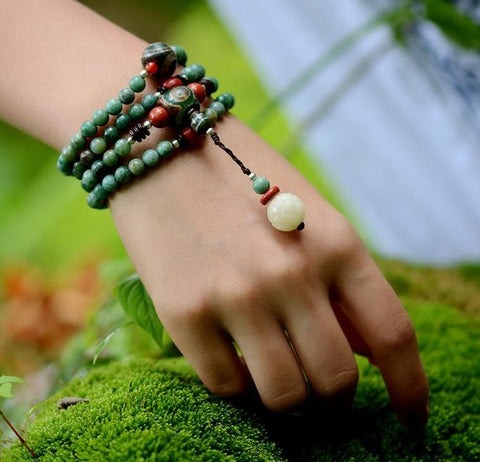 Ethnic Handmade Green Dragon Blood Stone Bracelet
