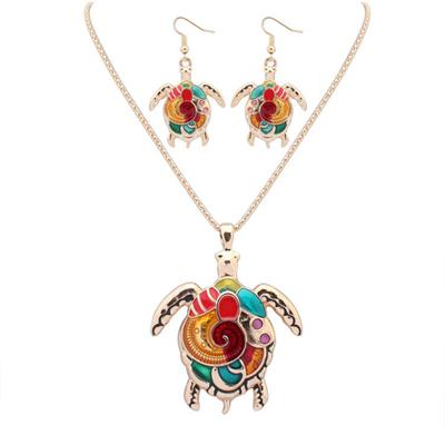 Boho Turtle Necklace & Earrings