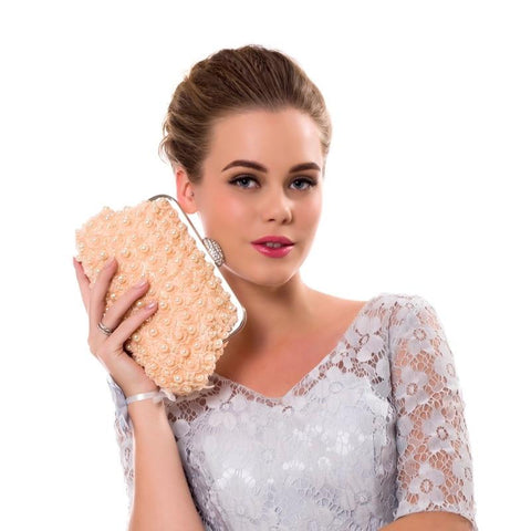 Pearl Beaded Wedding Clutch Bag