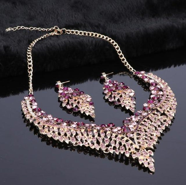 African Leaf Crystal Jewelry Sets