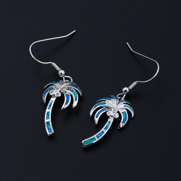 Noble Palm Tree Blue / White Fire Opal Earrings Jewelry for Lady