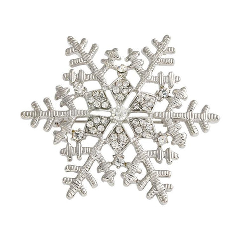 Crystal Christmas Snowflake Brooch
