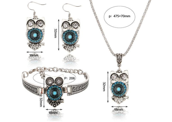 Vintage Owl Bracelet Necklace Earring Sets