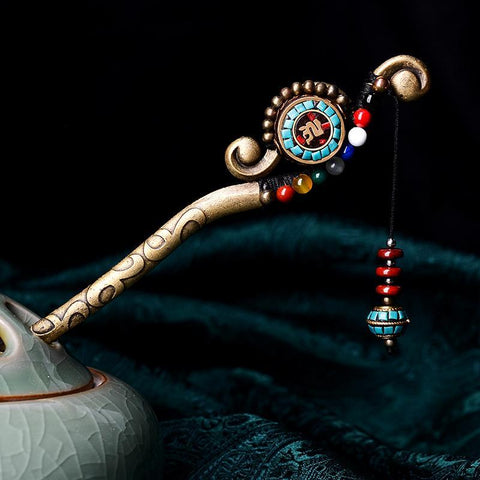 Handmade Ethnic Stone Drop Hair Stick