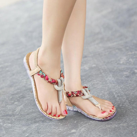 Hippie Flower Power T-strap Sandals