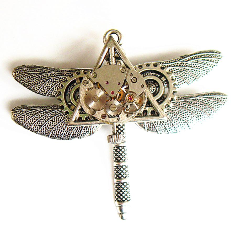 Steampunk Gear Dragonfly Brooch
