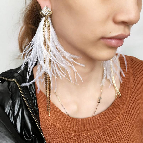 Bohemian Chain Tassel Feather Earrings