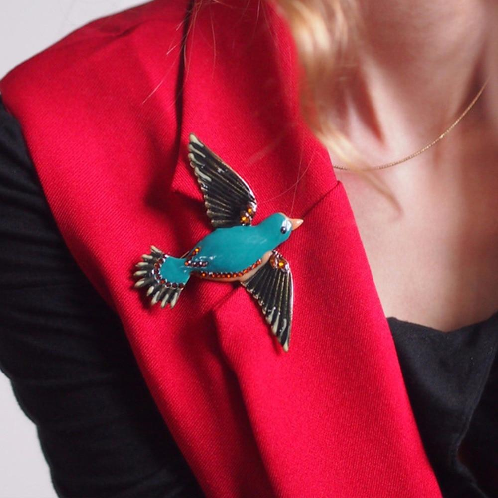 Beautiful Enamel Bird Brooch