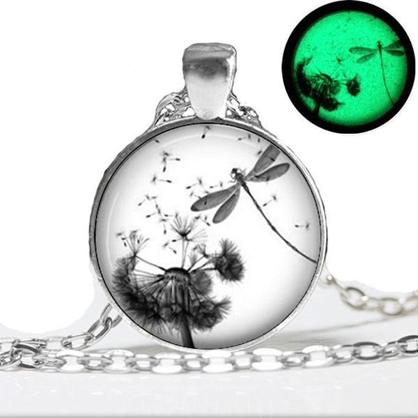 Glow In The Dark Dragonfly Dandelion Necklace