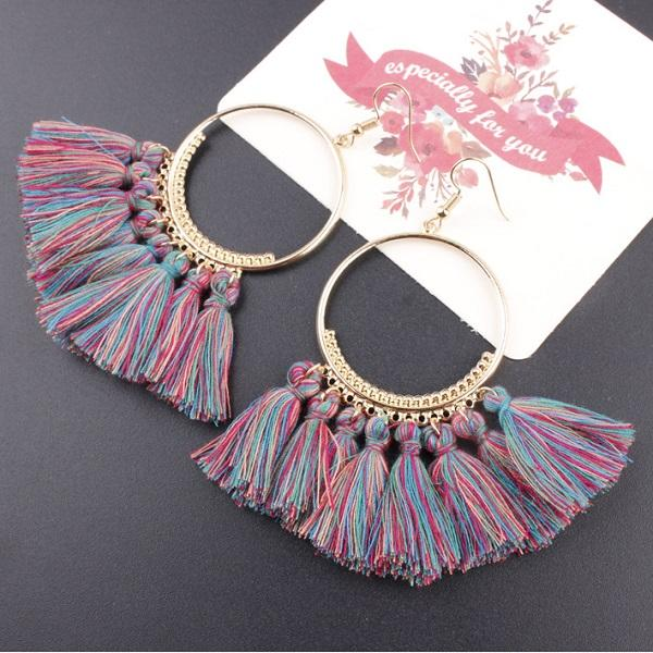 Boho-Gypsy Tassel Hoop Earrings