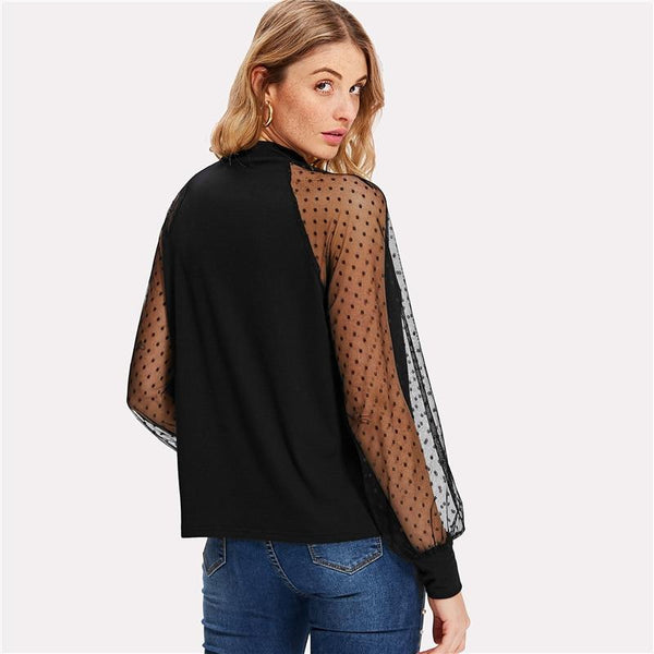 Polka Dot Mesh Bishop Sleeve Blouse