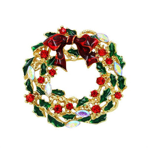 Christmas Bow Wreath Brooch