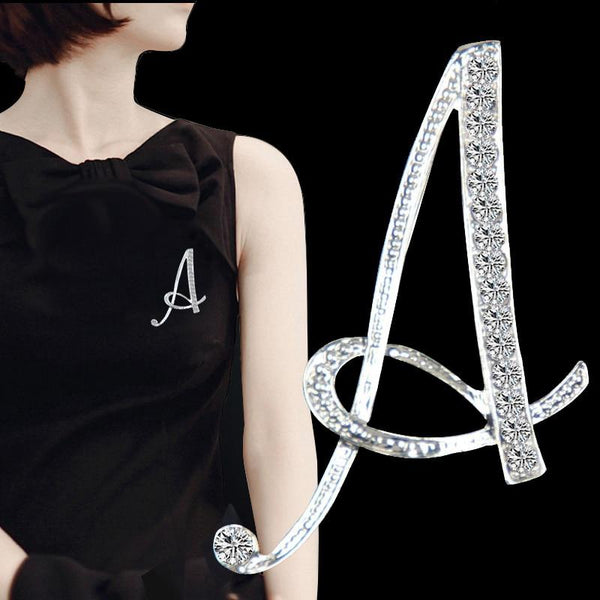 Crystal Letter Brooches