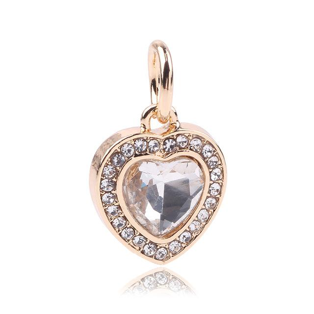 Jewel Heart Gold Charm