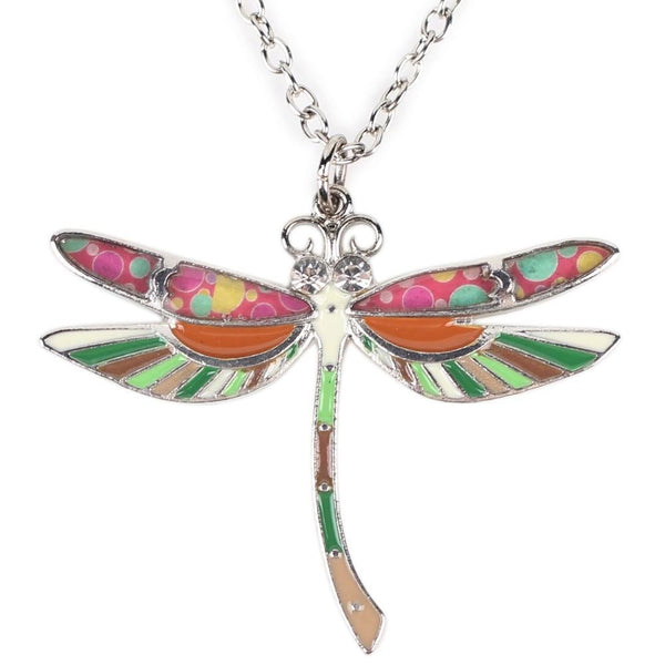 Colorful Enamel Dragonfly Necklace