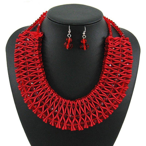 African Crystal Weave Jewelry Sets