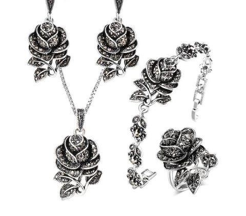 Vintage Silver Rose Jewelry Sets