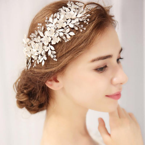 Silver Floral Bridal Headpiece