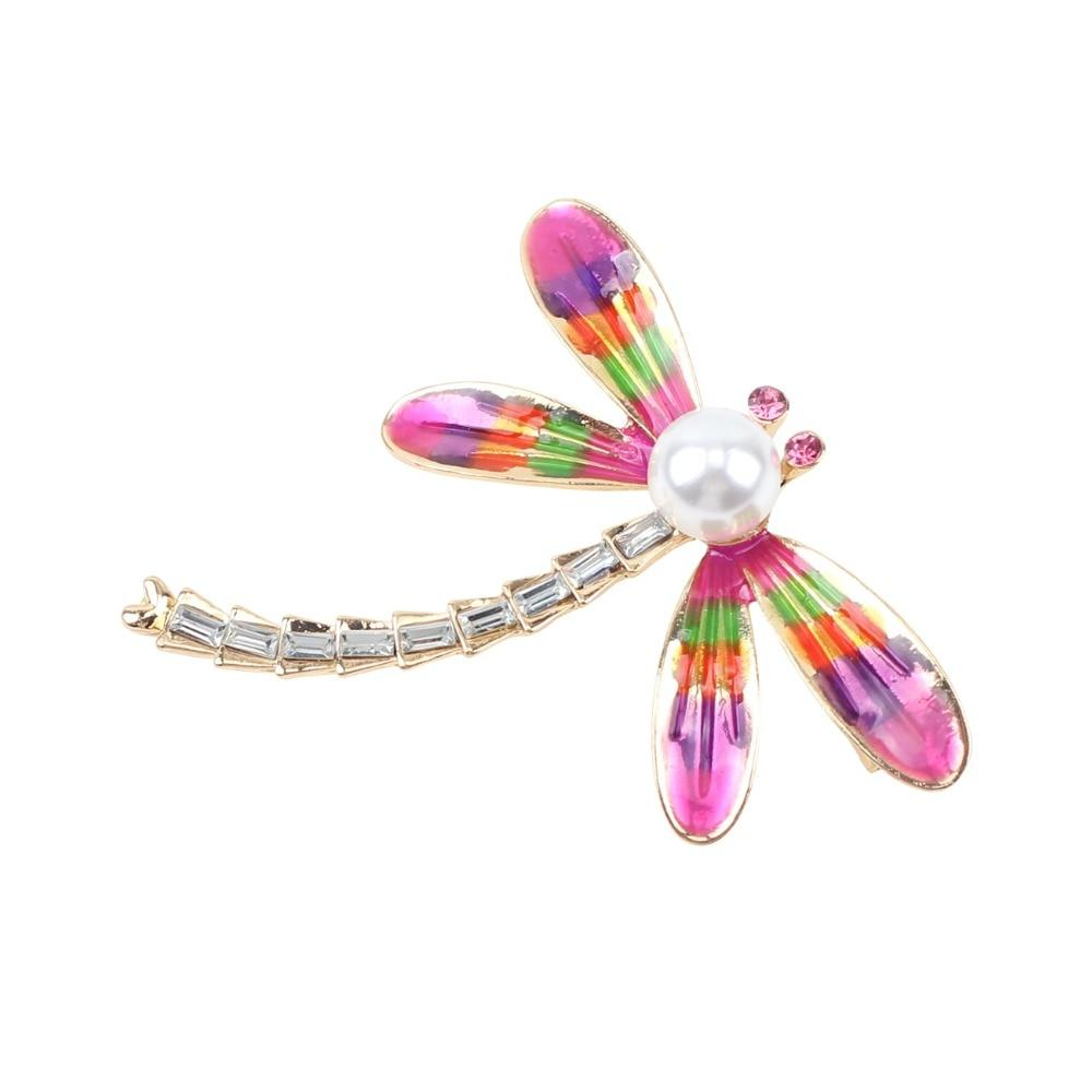 Rainbow Pearl Dragonfly Brooch