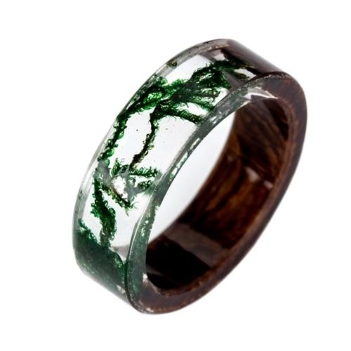 Gorgeous Green & Gold Moss Wooden Ring