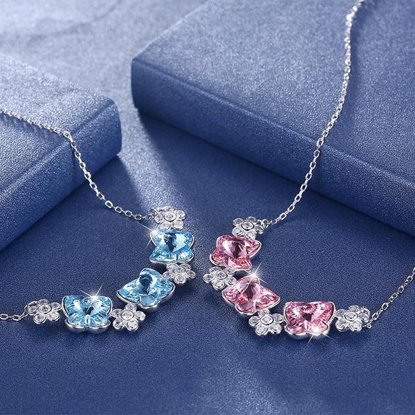 Butterfly Floral Crystal Necklaces
