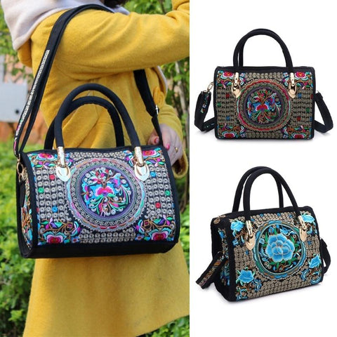Boho Floral Embroidered Handbag