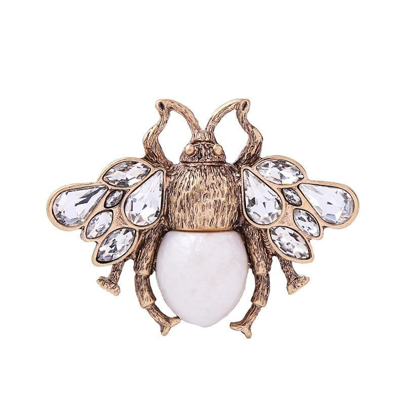 Vintage Crystal Bee Brooch