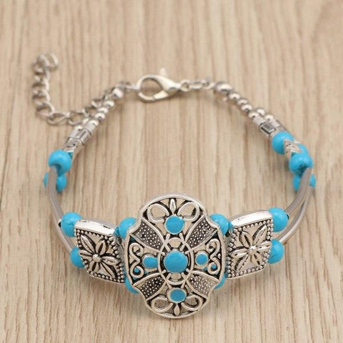 Boho Gypsy Natural Stone Flower Bracelet