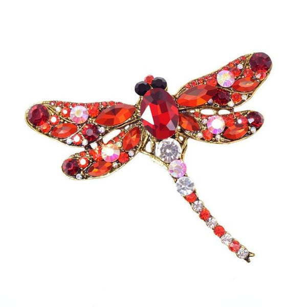 Crystal Dragonfly Brooches